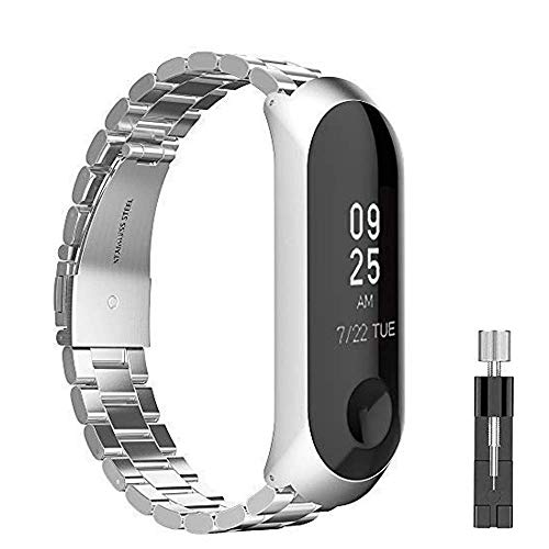 METEQI Correa Compatibles con Xiaomi Mi Band 3/4, Acero Inoxidable de Repuesto Metal Correa (Plata)