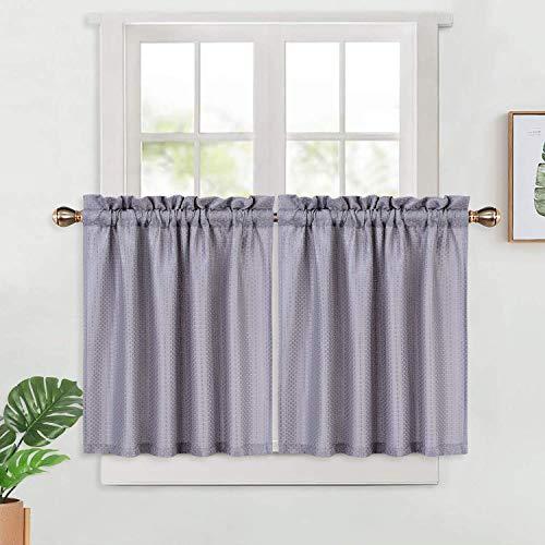 LinTimes Küchenvorhänge, texturierte Waffel Vorhang für küche, Kurze Vorhänge, halbe Fenstervorhänge, tierische Vorhänge für Küche, Bad, Wohnzimmer (30
