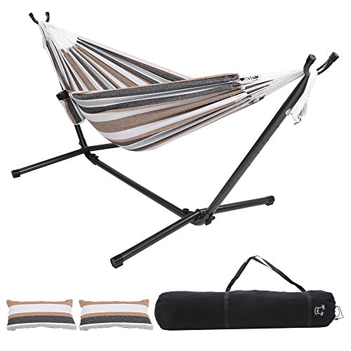ONCLOUD Upgraded Double Hammock with 9 FT Space Saving Steel Stand Heavy Duty w/ Carrying...