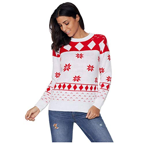 ZYUEER Pull Noel Femme Hiver Chic Pulls De NoëL Chandails Tricot Col Rond avec Manches Longues Flocon De Neige Pullover Jumper Sweaters