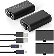 YCCTEAM Xbox One Controller Battery Pack, 2PCS x 1200 mAh Xbox Rechargeable Battery Pack and 5FT Micro USB Charging Cable, Xbox Battery Pack with LED Indicator, Xbox Play and Charge for Xbox One X/S