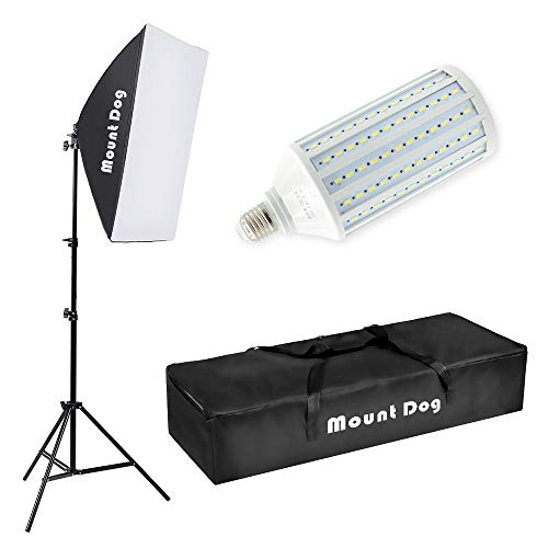 "MOUNTDOG LED Softbox Photography Lighting Kit with 20""X28"" Reflector Professional Photo Studio Equipment and 80W 6500K New Corn Light Bulbs for Portraits Fashion and Video Shooting"