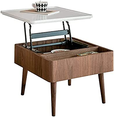 Lift Up Coffee Table with Hidden Storage Compartment - Multi-Function Lifting Side Table - Metal and Wood Cocktail Table - Sliding Top Living Room Furniture