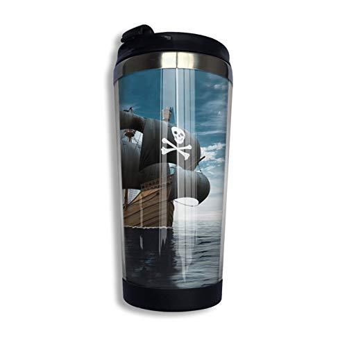 Taza de café de acero inoxidable con diseño de barco pirata para mantener caliente o frío, 400 ml