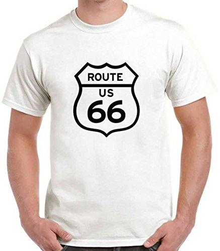 Tee Shirt Route 66 - Rock Biker Harley - 100% Coton - Standard - Blanc - M