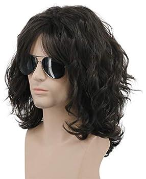 Karlery California 70s 80s Rocker Wig Men Women Long Curly Dark Brown Halloween Costume Anime Wig