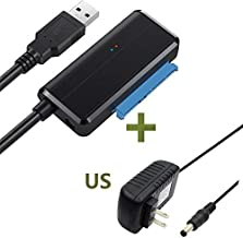 USB to SATA Adapter, Yuyitec USB to 2.5/3.5 HDD SSD Cable Hard Disk Reader External USB 3.0 Docking Station Enclosure Caddy,HDD to SSD SATA Adaptor Converter, UASP Supported,with 12V 2A Power Adapter
