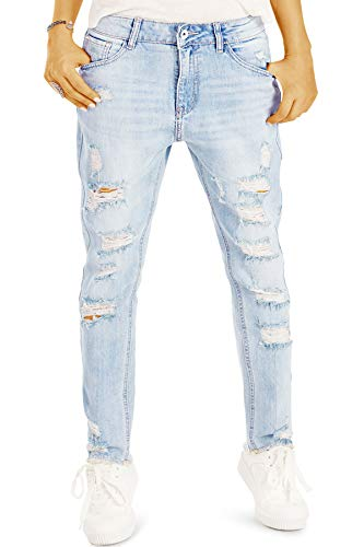 bestyledberlin Damen Boyfriend Jeans, Super Destroyed Denim Hosen, Aufgerissene Relaxed Fit Jeanshosen j03l 36/S