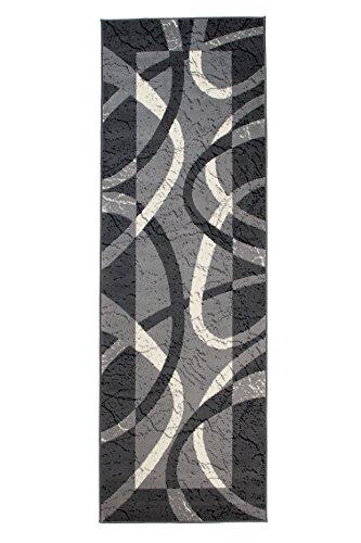 Carpeto Modern Läufer Teppich Grau 70 x 150 cm Wellen Muster Kurzflor Monaco Kollektion