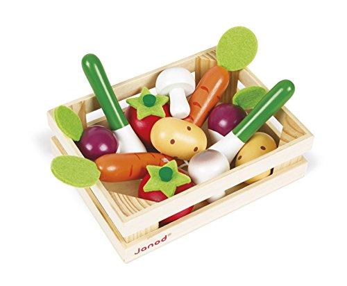 Janod - Cagette 12 Légumes en Bois - Accessoire Dinette, Cuisine et Marchande - Jouet d'Imitation - Dès 3 Ans, J05611