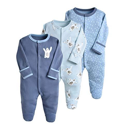Bebé Pijama Pack de 3, Pelele de Algodón Niño Niña Mameluco Manga Larga Monos, Perfecto para Regalo 0-3 Meses