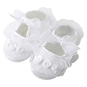 Slowera Baby Girls Soft Soled Princess Shoes  4.14 inch  0-6 Months  White 1 Pairs