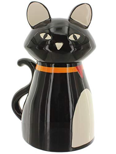 MIK Funshopping voorraaddoos koekjesdoos bewaardoos Cookie-Jar zwarte kat van met de hand beschilderd keramiek, ideaal voor kattenlekkers, cadeau voor kattenliefhebbers