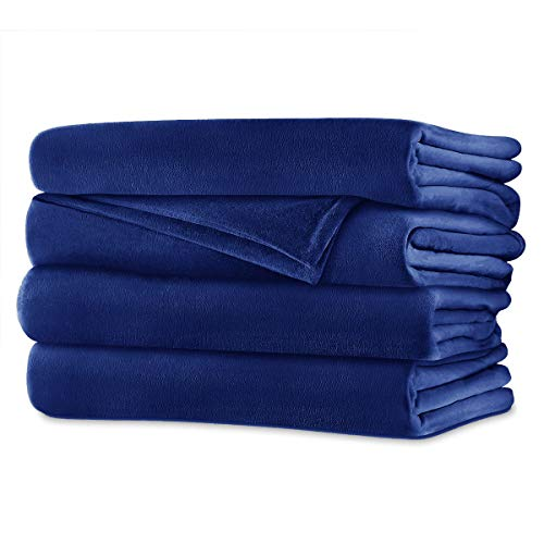 Sunbeam Velvet Plush Electric Heated Warming Blanket with 2 Digital Controllers and Auto-off Feature - Queen, Royal Blue (BSV8SQ-R505-42CC