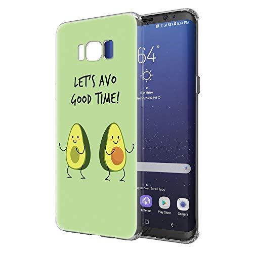 Pnakqil Funda Samsung Galaxy S8, Silicona Transparente con Dibujos Diseño Slim Gel TPU Antigolpes Ultrafina de Protector Piel Case Cover Cárcasa Fundas para Movil Samsung GalaxyS8, Aguacate Verde