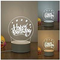 3Dイリュージョンナイトライト 誕生日おめでとう キッズ3Dイリュージョンランプキッズナイトライト7色変更スマートタッチおもちゃパーティー用品女の子の誕生日プレゼントのアイデア男の子