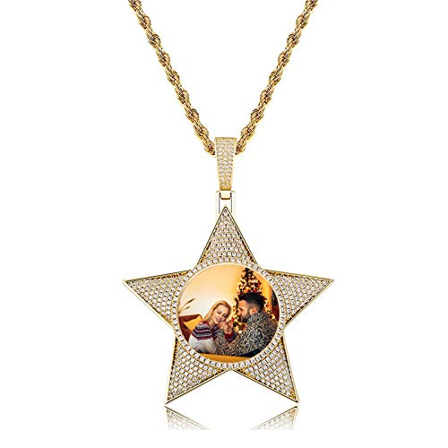 Personalized Star Necklace Customized Photo Necklace Five-Pointed Star Necklace Hip Hop Necklace Memory Photo Pendant for Women(Rose Gold Plated 20)