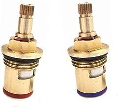20/dents BSP 1//5,1/cm fourni avec vis en laiton massif One Clockwise, One Anticlockwise Pair Robinet Magicien de remplacement de disque en c/éramique quart de tour robinet Cartouches QH43H paire