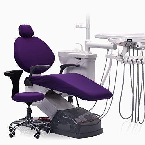 BIUYYY 4 Teile/Satz Dental Unit Stoffstuhl Abdeckung, Sitzbezug zum Zahnarztstuhl Elastisch wasserdicht Schutzhülle Kopfstütze Rückenlehne Schutz Zahnarzt Ausrüstung,Lila