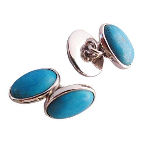 Bijoux et Objets - Boutons de Manchette Turquoise Bleue en Argent Massif - Dimensions des Pierres 10x14mm