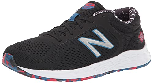New Balance Boy's Fresh Foam Arishi V2 Lace-Up Running Shoe, Black/Oxygen Blue/Team Red, 4 Wide Big Kid