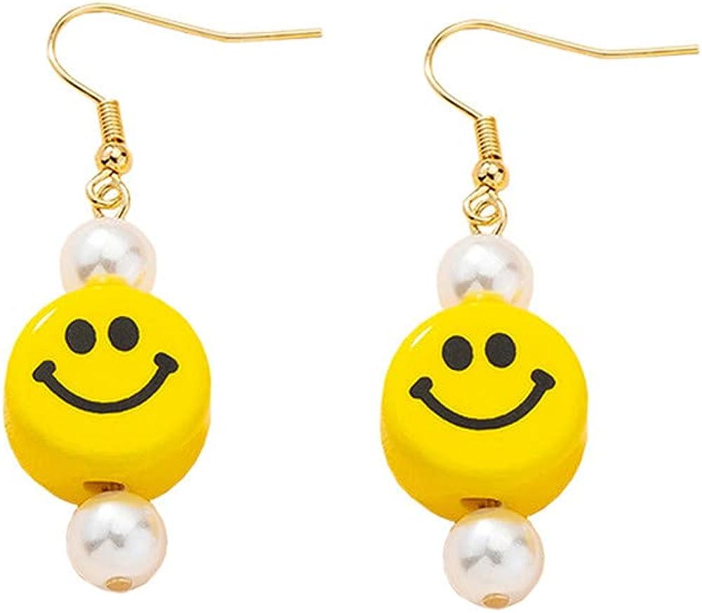 Cute Handmade Smile Face Earrings Imitation Pearl Earrings Big Circle Earrings for Women