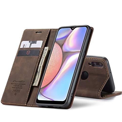 Chocoyi Compatible Funda Samsung Galaxy A10 Flip Leather Edition,magnético, función de Soporte y Ranuras para Tarjetas-marrón