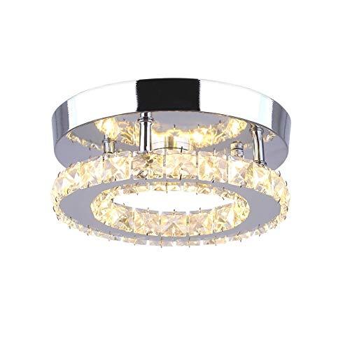 Goeco Lámpara de Techo LED, Plafón Cristal Lámpara de techo Moderna Integrada 18W 3000k para el dormitorio de la sala de estar (20cm una capa)