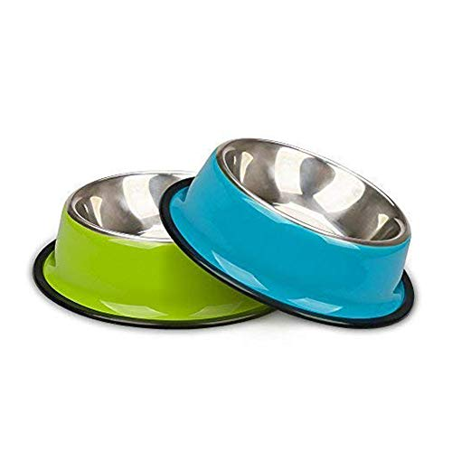 miaosun Pet Bowls for Cats Non Skid with Natural Rubber Base, Variety of Colors Food Grade Stainless Steel Dog Food And Water Bowls for Travel, Pack of 2 (green&blue)