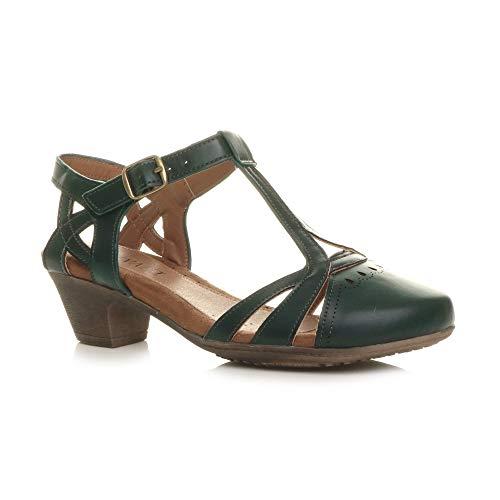 Damen Mitte Blockabsatz T-Riemen Ausgeschnitten Brogues Pumps Sandalen Größe 9 42