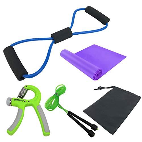 JERKKY Springseil, 4er Pack Springseil Handgriffstärke Workout Resistance Band 8-Wort-Zugseil Heimfitnessgeräte mit Empfangstasche
