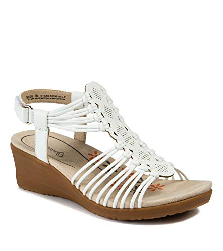BareTraps Women's Trudy Sandal, White, 7.5 Medium US
