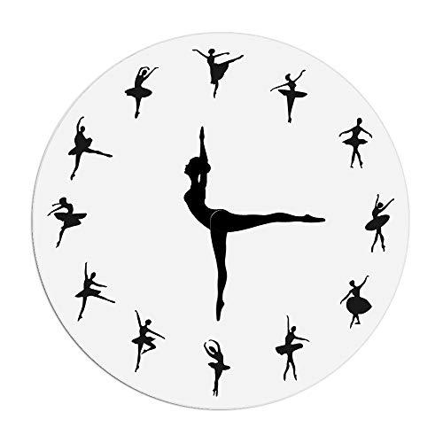 SODIAL Orologio da Parete con Ballerina Affascinante Neonata Decor di Vivaio Ballerino di Danza Classica Orologio da Parete Moderno Orologio da Parete con Lancetta per Balletto