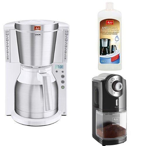 Melitta Kaffeefiltermaschine + Melitta 192618 Flüssigentkalker + Melitta 1019-02 Kaffeemühle Molino