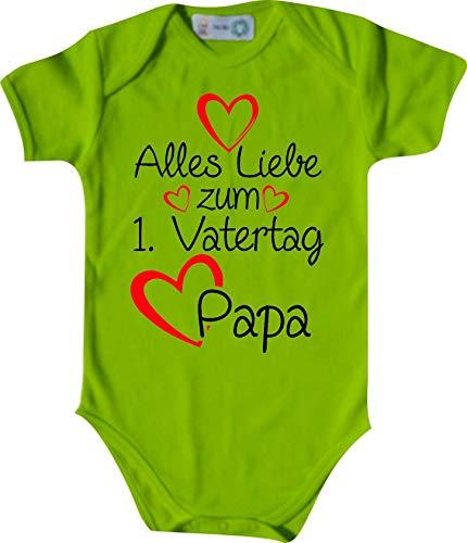 Shirtinstyle Body Todo Amor para 1. Día del Padre Papa, Manga Corta Body de Bebé, Bebé, Nacimiento, Bautizo, Pelele - Lima, 74-80