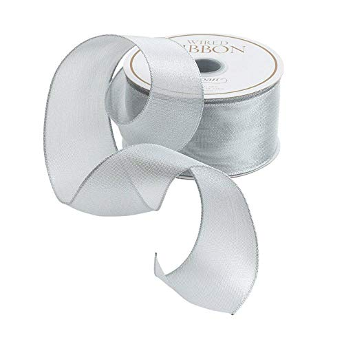 Entertaining with Caspari Holiday Wired Ribbon, 1-1/2-inch width, Sheer Silver, 1-Roll