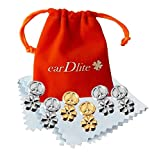 3 Pair Earring Lifters. No Droop. Elegant. Hypoallergenic + Ear Lobe Patches. Velvet Pouch Jewelry Cleaning Cloths