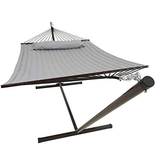 VITA5 Hängematte mit Gestell Outdoor, Bis zu 2 Personen / 200kg, 190 * 140, Entfernbarer Kopfkissen, Wetterfest UV-beständig (Warmes Grau)