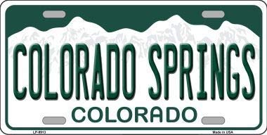 Colorado Springs Colorado Background Metal Novelty License Plate (With Sticky Notes)