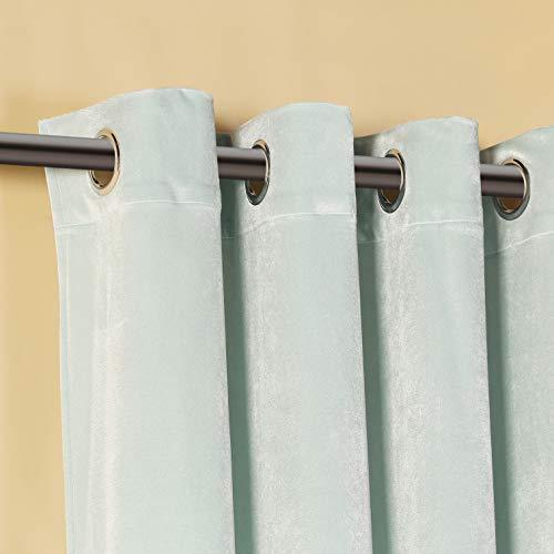 PimpamTex – Blickdichter Vorhang Wärmedämmender Samt Touch, 260x140 cm, mit 8 Ösen für Wohnzimmer, Schlafzimmer und Räume, blickdichte Vorhänge Modell Samt (Grün)