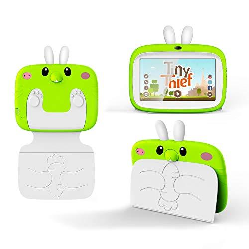 HJGHY Tabletas para Niños de 2GB + 32GB de 7 Pulgadas, Android, WiFi, Bluetooth, Tabletas de Doble Cámara con Software Educativo, de Juegos Y para Niños (Funda para Tableta para Niños),Verde