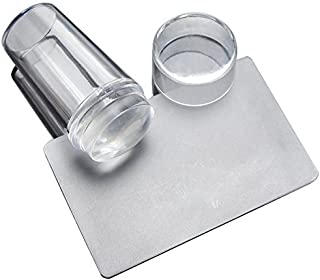 Nail Stamper With Cover, Transparent Silicone Head Jelly Seal With Cover Stamps Stamping Nail Polish Nail Art Scraper DIY Tool Kit With Matte Handle🌵