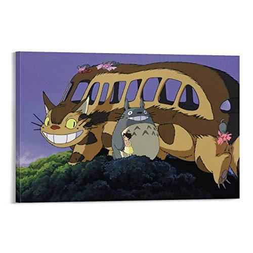 DRAGON VINES Marco de pintura en lienzo de Catbus de película animada de My Neighbor Totoro, impresión artística, póster de decoración del hogar, arte de pared de 20 x 30 cm