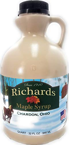 Richards Maple Products 100% Pure Geauga County Ohio Maple Syrup Grade A Amber Color  Quart 32 Fl Oz