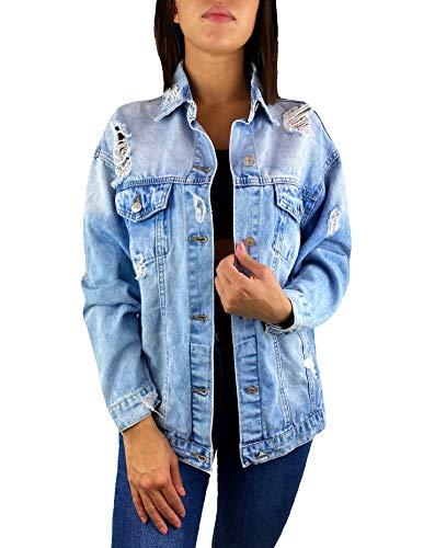 Worldclassca Damen Jeansjacke Oversized MIT Rissen Jeans HELL BLAU Denim Jacket Vintage KURZ Used WASH ÜBERGANGSJACKE Blogger DENIMWEAR Parka Denim Destroyed Mantel Cut Out Look S-L (M)