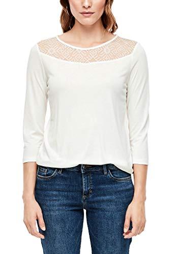 s.Oliver RED LABEL Damen Jerseyshirt mit Mesh-Passe cream 42