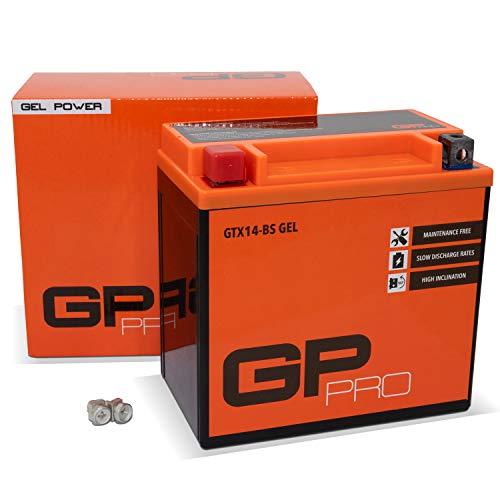 GP-PRO GTX14-BS 12V 14Ah GEL-Batterie (Kompatibel mit YTX14-BS / 51214) (Wartungsfrei & Versiegelt) Akkumulator Motorrad Motorradbatterie