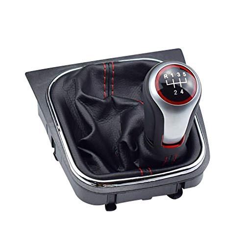 TRULIL Pommeau de levier de vitesse de voiture 5 vitesses avec housse anti-poussière pour VW Volkswagen Golf 6 MK5 MK6
