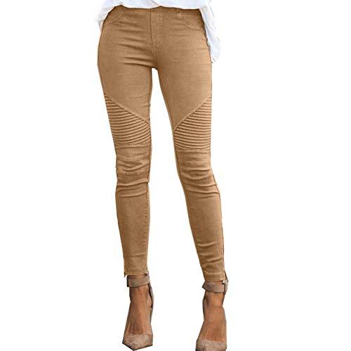 Pantalones elásticos de Color sólido Ajustados Casuales de Moda de otoño para Mujer