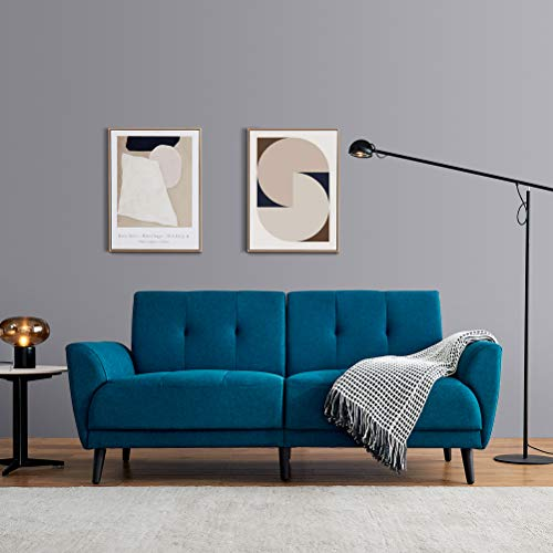 Modern Fabric Sofa Couch with Metal Legs for Two or Three People, Upholstered Futon Living Room Sofa Chair with Thick Seat Cushions and Back Cushion for Small Space Apartment, Office, Dorm (Blue)